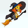 Cartoon pretty funny witch flying on her broom. Halloween vector illustration isolated on white.