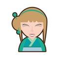 cartoon pretty geisha green kimono