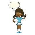 cartoon pretty maid woman with speech bubble Royalty Free Stock Photo