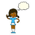 cartoon pretty maid woman with thought bubble Royalty Free Stock Photo