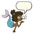 Cartoon pretty mermaid with speech bubble Royalty Free Stock Image