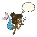 Cartoon pretty mermaid with thought bubble Stock Image