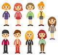 Cartoon pretty office woman worker icon set Royalty Free Stock Photography