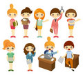 Cartoon pretty office woman worker icon set Royalty Free Stock Photo