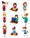 Cartoon pretty office woman worker icon set Stock Photos