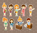 Cartoon pretty office woman worker stickers Royalty Free Stock Photography