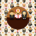Cartoon Priest and nun card Royalty Free Stock Images