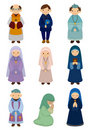 Cartoon priest and nun icon Stock Images