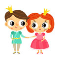 Cartoon prince and princess holding hands, cute vector character Royalty Free Stock Photo