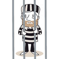 Cartoon prisoner behind bars vector illustration of a monochrome character standing Stock Images