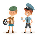 Cartoon profession kids children vector set illustration person childhood policeman driver uniform worker character