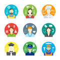 Cartoon Profession People the Avatar in a Circle Color Icons Set. Vector
