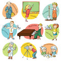 Cartoon profession set including teacher doctor photographer Royalty Free Stock Images