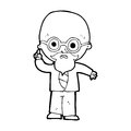 Cartoon professor black and white line in retro style vector available Stock Photography