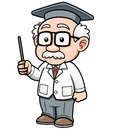 Cartoon professor vector illustration of Royalty Free Stock Photo