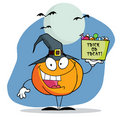 Cartoon pumkin a bag of candy Royalty Free Stock Photos