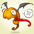 Cartoon pumpkin head with bat wings flying and screaming. Vector Halloween illustration Royalty Free Stock Photo