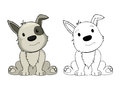 Cartoon puppy drawing on white background Stock Photos