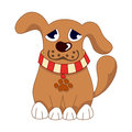 Cartoon puppy vector illustration of cute dog wearing a red collar with pet paw tag sad doggy Royalty Free Stock Photo