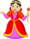 Cartoon queen holding scepter illustration of Royalty Free Stock Image