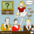 Cartoon quiz illustration set of different related illustrations Stock Photos