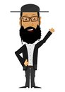 Cartoon rabbi on a white background the character Stock Image