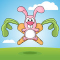 Cartoon Rabbit and Carrots Emblem Royalty Free Stock Photo