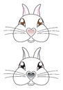 Cartoon rabbit face vector Royalty Free Stock Photos