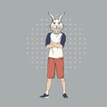 Cartoon Rabbit Hipster Wear Fashion Clothes Retro Abstract Background