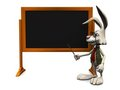Cartoon rabbit pointing at blank blackboard. Royalty Free Stock Images
