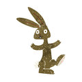 Cartoon rabbit retro with texture isolated on white Stock Photography