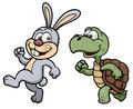 Cartoon rabbit and turtle vector illustration of Stock Image