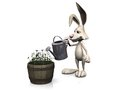 Cartoon rabbit watering flowers. Royalty Free Stock Image
