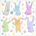 Cartoon rabbits Stock Photo