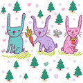 Cartoon rabbits Royalty Free Stock Image