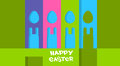 Cartoon rabbits eggs shape happy easter holiday colorful greeting card banner flat vector illustration Royalty Free Stock Photos