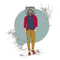 Cartoon Raccoon Hipster Wear Fashion Clothes Retro Abstract Background