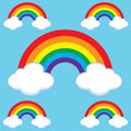 Cartoon rainbows and clouds set illustrated of Royalty Free Stock Photo