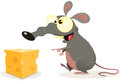 Cartoon Rat And Piece Of Cheese Stock Photo