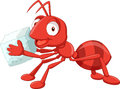 Cartoon red ant carrying sugar Royalty Free Stock Photo
