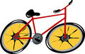 Cartoon red bicycle Stock Photo