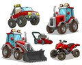 Cartoon red bulldozer offroad truck quad motorbike Royalty Free Stock Photo