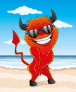 Cartoon red devil on the beach Royalty Free Stock Photos