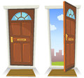 Cartoon red door open and closed illustration of a front opened on a spring urban backyard symbolizing private public frontier Royalty Free Stock Photos