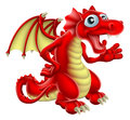 Cartoon red dragon illustration of a friendly smiling and waving Royalty Free Stock Images