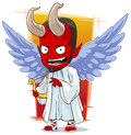 Cartoon red evil angel of hell a vector illustration Royalty Free Stock Images