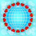 Cartoon red hearts circle around globe Stock Photography