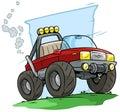 Cartoon red off road monster truck