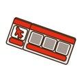 cartoon red ticket airplane travel