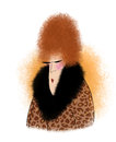 Cartoon redheaded lady in a leopard coat funny and sunglasses Royalty Free Stock Images